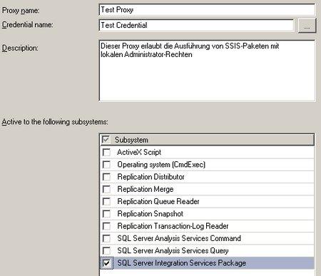 Erstellen eines Proxies mit Erlaubnis für SSIS-Pakete