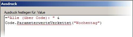 Ausdruck via Code
